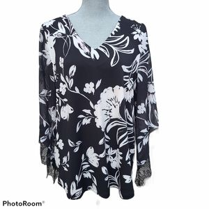 Cleo Floral Print Wide Sleeve V-neck Top Size XL